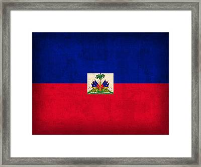 Haiti Flag Vintage Distressed Finish Framed Print by Design Turnpike