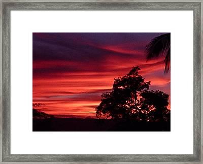 Haiti - Red Sunset Framed Print by Marianne Miles