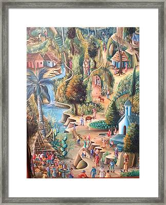 Framed Print featuring the painting Haitian Village by Dimanche from Haiti