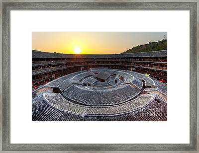 Hakka Tulou Traditional Chinese Housing At Sunset Framed Print by Fototrav Print