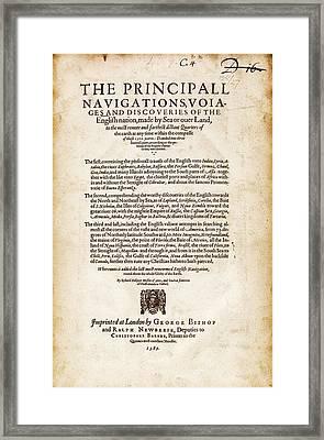 Hakluyt's 'principal Navigations' (1589) Framed Print