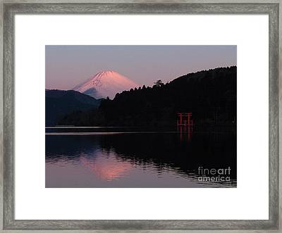 Hakone Waters Fuji  Framed Print by John Swartz