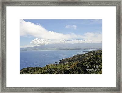 Haleakala Volcano And Coastline Framed Print by Sami Sarkis