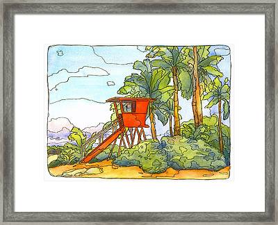 Haleiwa Lifeguard Tower 2 Framed Print by Stacy Vosberg