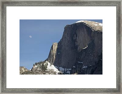 Half Dome And Moon Framed Print by Richard Berry