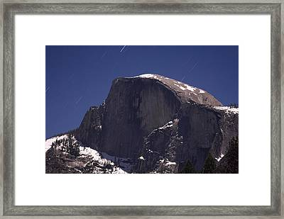 Half Dome And Star Trails Framed Print by Richard Berry