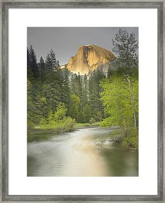 Half Dome And The Merced River At Sunset Framed Print