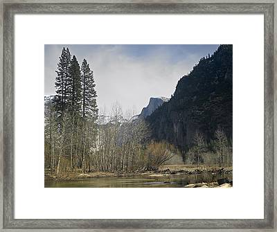 Half Dome And The Merced River In Winter Framed Print by Richard Berry