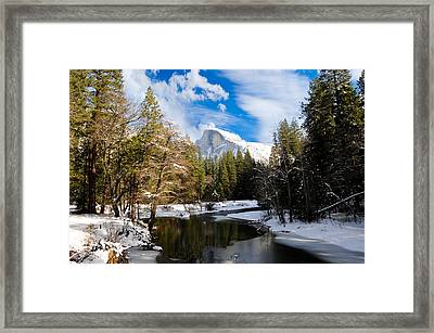 Half Dome In Winter Framed Print by Bonnie Fink