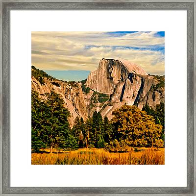 Half Dome Painting Framed Print by Bob and Nadine Johnston