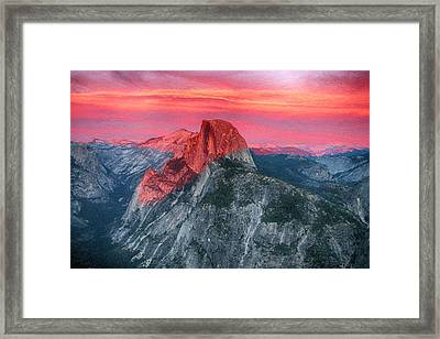 Framed Print featuring the painting Half Dome Sunset From Glacier Point by John Haldane