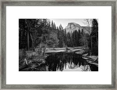 Half Dome - Yosemite In Black And White Framed Print