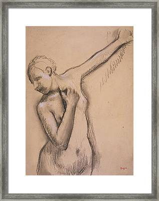 Half Length Nude Girl, C.1895 Framed Print by Edgar Degas