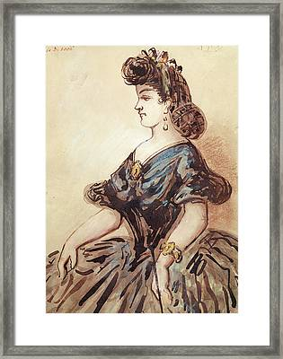 Half Length Portrait Of A Woman Wc And Ink On Paper Framed Print by Constantin Guys