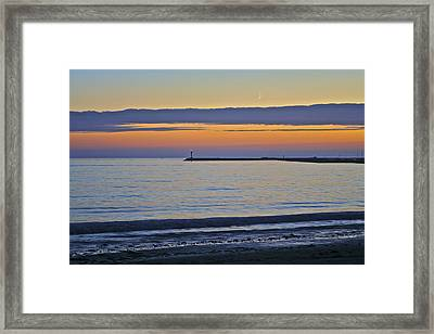 Half Moon Bay Under The Moon At Sunset Framed Print
