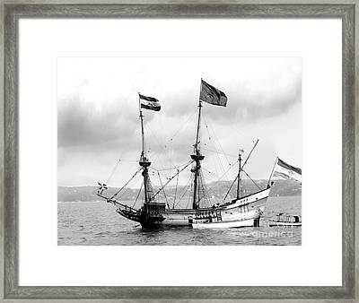 Half Moon Re-entered Hudson River After An Absence Of 300 Years In Black And White Framed Print