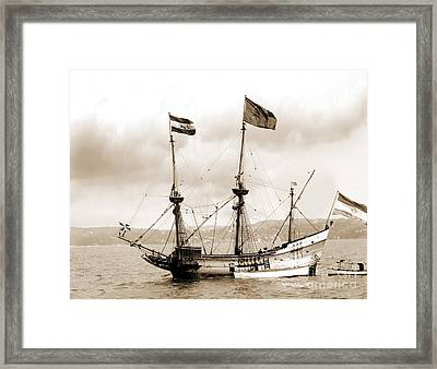 Half Moon Re-entered Hudson River After An Absence Of 300 Years In Sepia Tone Framed Print