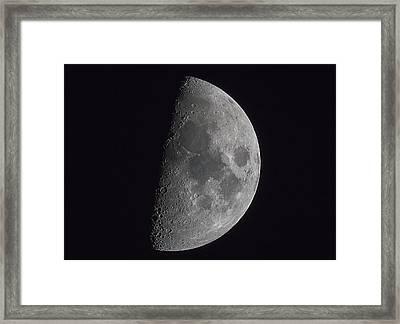 Half Of The Moon Illuminated In A Dark Framed Print
