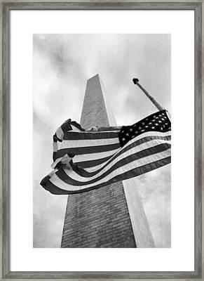 Half Staff At Washington Monument Framed Print