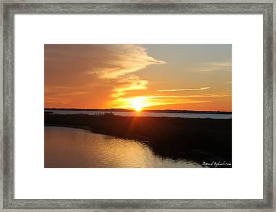 Framed Print featuring the photograph Half Sun Horizon by Robert Banach
