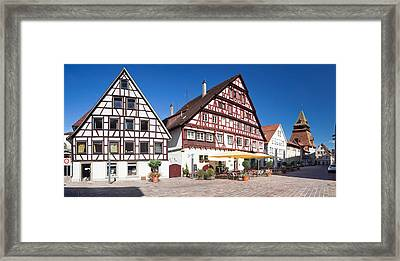 Half-timbered House And Bell Tower Framed Print