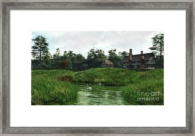Half-timbered Lakeside Manor House Framed Print