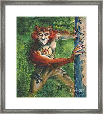 Half Wolf Werewolf Framed Print by Melissa A Benson
