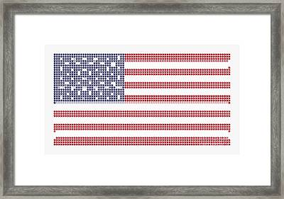 Halftone Us Flag Framed Print by Celestial Images