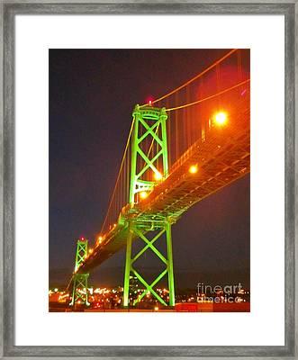 Halifax Macdonald Bridge At Night Framed Print by John Malone