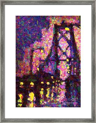 Halifax Macdonald Bridge One-poinillism Framed Print by John Malone