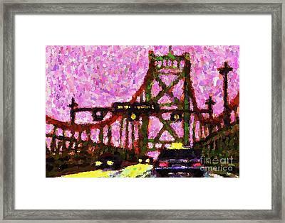 Halifax Macdonald Bridge Pointillist Framed Print by John Malone