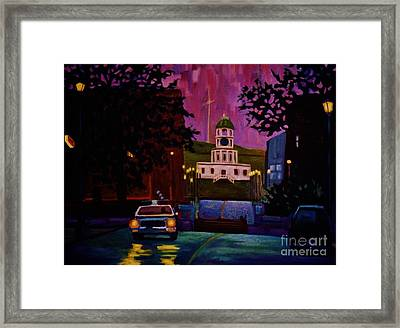 Halifax Night Patrol And Town Clock Framed Print by John Malone