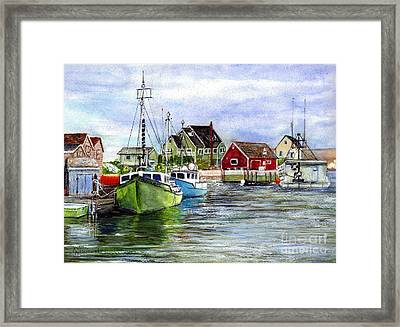 Peggys Cove Nova Scotia Watercolor Framed Print
