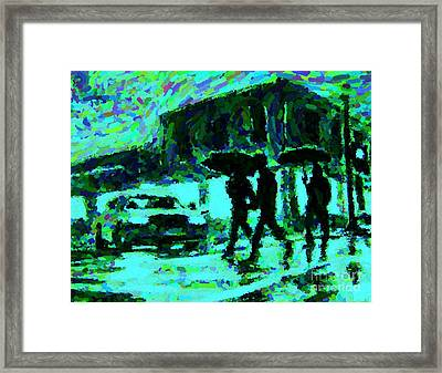 Halifax On A Rainy Night Framed Print by Halifax Artist John Malone
