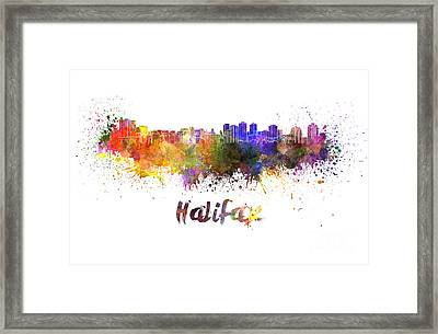 Halifax Skyline In Watercolor Framed Print by Pablo Romero