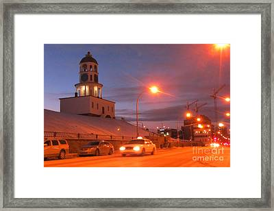 Halifax Town Clock In Halifax Nova Scotia Framed Print by Halifax photographer John Malone