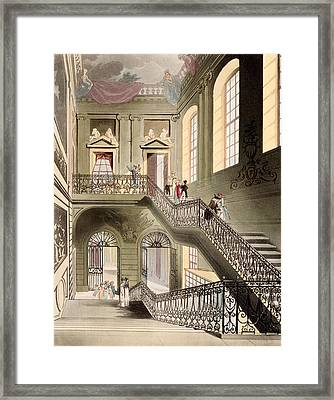 Hall And Staircase At The British Framed Print by T. & Pugin, A.C. Rowlandson