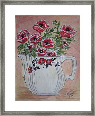 Hall China Red Poppy And Poppies Framed Print by Kathy Marrs Chandler