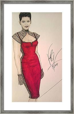 Halle Berry/ In Victoria's Fashion Framed Print by Vicki  Jones