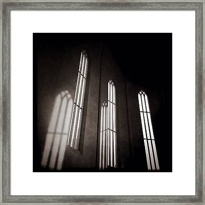 Hallgrimskirkja Windows Framed Print by Dave Bowman