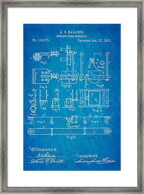 Hallidie Cable Car Patent Art 1871 Blueprint Framed Print