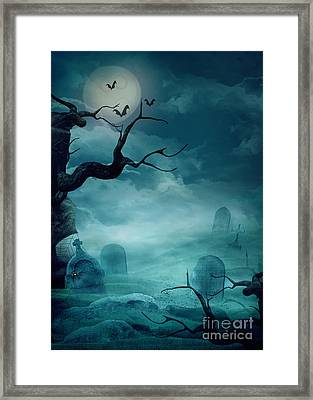 Halloween Background - Spooky Graveyard Framed Print