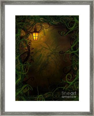 Halloween Background With Spooky Vines Framed Print by Mythja  Photography