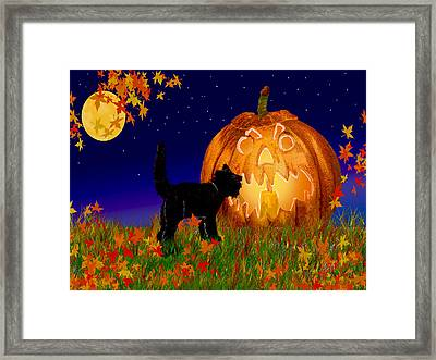 Halloween Black Cat Meets The Giant Pumpkin Framed Print