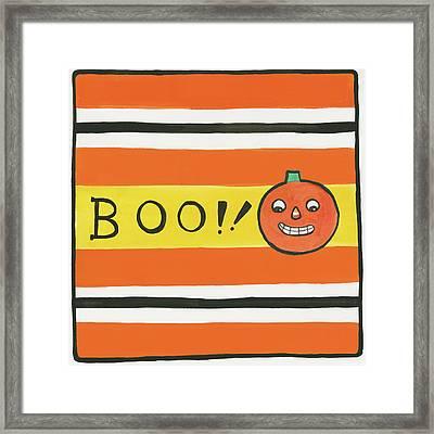 Halloween Boo Pumpkin Framed Print by Melissa Averinos