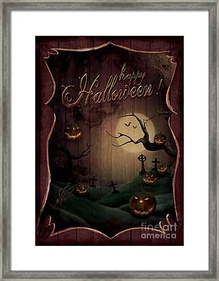 Halloween Design - Pumpkins Theatre Framed Print by Mythja  Photography