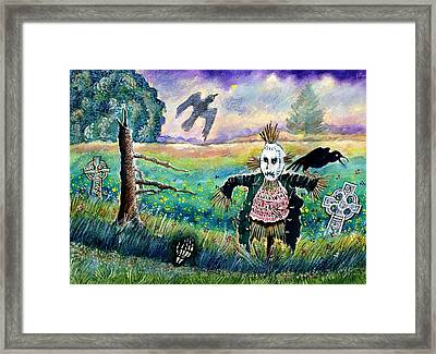 Halloween Field With Funny Scarecrow Skeleton Hand And Crows Framed Print by Ion vincent DAnu
