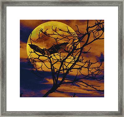 Framed Print featuring the painting Halloween Full Moon Terror by David Mckinney