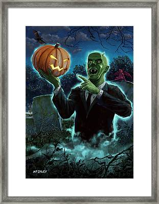 Halloween Ghoul Rising From Grave With Pumpkin Framed Print by Martin Davey