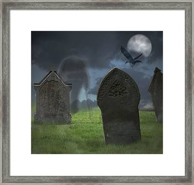 Halloween Graveyard Framed Print by Amanda Elwell